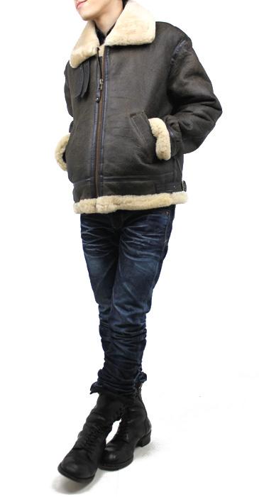 ラム革フライトジャケットB−3(ムートン)羊、着用した様子(正面)