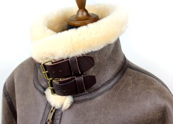 ラム革フライトジャケットB−3(ムートン)羊、襟ベルト