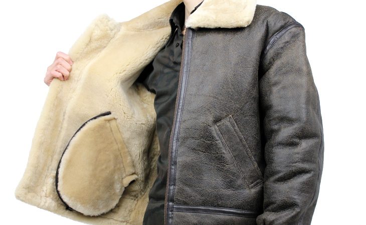 ラム革フライトジャケットB−3(ムートン)羊、裏地