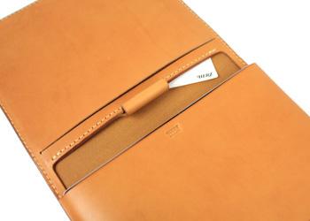 iPadノートパッドフォルダー(牛革)ペンホルダー