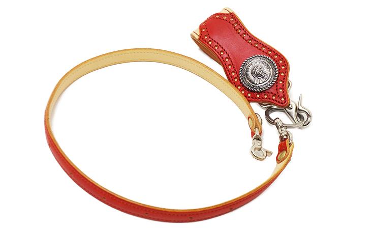 鮮やかな赤が冴えるスタンピードチーフ ロングウォレット(牛革) ウォレットロープとキーホルダー
