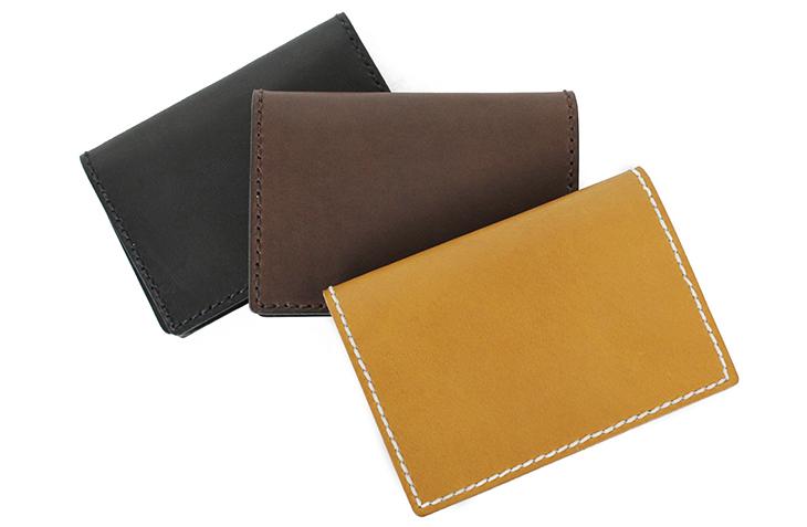 22色からステッチが選べる 手縫いカードケース(牛革)