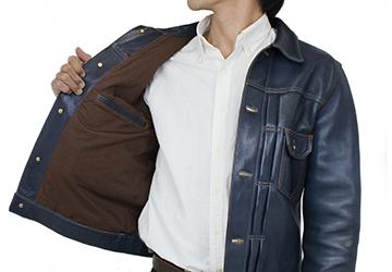 Gジャンタイプレザージャケット インディゴホース(馬革/日本製)防風性に優れた裏地