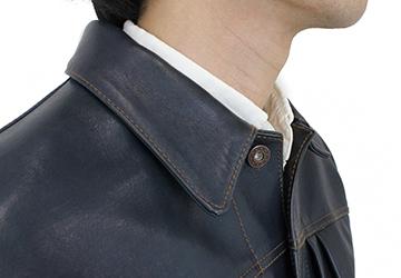 Gジャンタイプレザージャケット インディゴホース(馬革/日本製)Gジャンファースト特有の襟